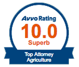Avvo Rating 10.0 Top Attorney Agriculture Badge