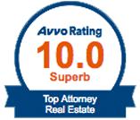 Avvo Rating 10.0 Top Attorney Real Estate Badge