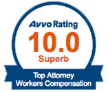 Avvo Rating 10.0 Top Attorney Workers Compensation Badge